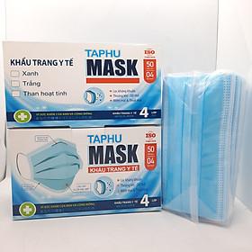 [BỘ 2 HỘP] Khẩu trang y tế 4 lớp hộp 50 cái MÀU XANH vải kháng khuẩn, có gọng mũi TAPHU MASK