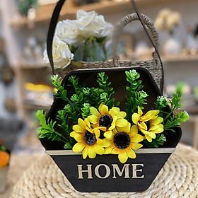 Giỏ hoa treo tường trang trí nhà cửa chữ Home (Bao gồm Hoa)