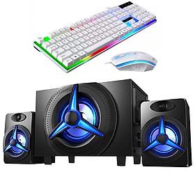 Combo Bộ 3 Loa Vi Tính K9 Bằng Gỗ Chất Lương Cao, Hỗ Trợ Bluetooth 5.0, Âm Thanh Siêu Trầm, Công Suất Lớn + Tặng Bộ Bàn Phím Chuyên Game Led 7 Màu Cao Cấp