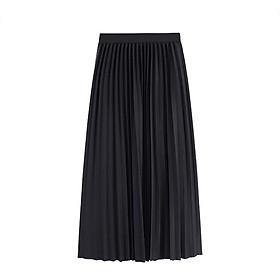 Chân váy đập ly dáng dài lưng thun vải cát hàn
