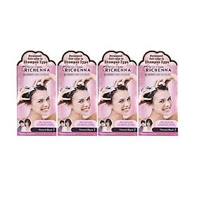 Combo 4 hộp Gội nhuộm phủ bạc thảo dược Richenna EZ Speedy Hair Color-EX Hàn Quốc màu đen tự nhiên 60G