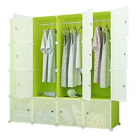Tủ Nhựa Lắp Ghép Đa Năng 16 Ô Xanh Lá, Cánh Trong (47 x 145 x 145cm) - 16.XL.67