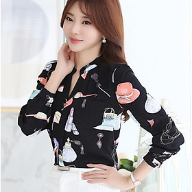 Fashion Trend Slim Women's Printed Blouse Korean Style Long-sleeved Chiffon Shirt