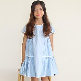 Đầm Bé Gái Kika Kẻ Xanh Blue Phối Viền Trắng K126