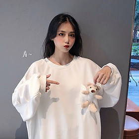 IELGY (M-2XL 3 colors) Bear plush sweater women thin loose round neck long sleeve casual top