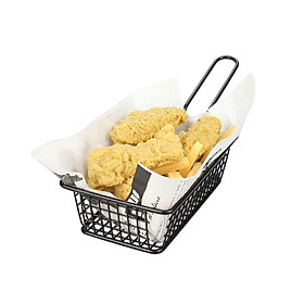Portable Black Iron Wire Mini Frying Basket Strainer Fryer for Kitchen Chef Chicken Wings French Fries Cooking  Specification:rectangle