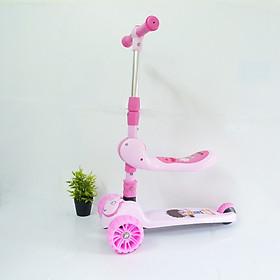 Xe trượt scooter có đèn  nhạc, có Ghế ngồi chòi chân + Tặng kèm 1khăn yếm tam giác cho bé