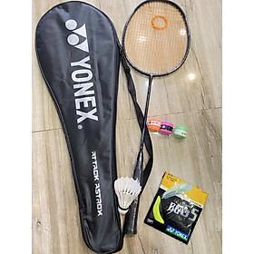 1 Vợt cầu lông Yonex cao cấp 100% Cacbon đan dây tốt 9,5kg tặng 3 món quà