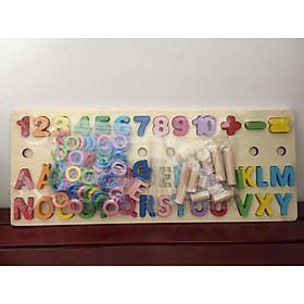 Đồ chơi giáo dục - Bảng học chữ cái Tiếng Việt kèm con số và thang tập đếm BK