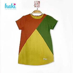 Đầm bé gái linen cộc tay phối tam giác Haki