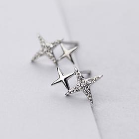 Khuyên tai  bạc đẹp - Bông tai Bạc Nữ  925  ngôi sao bốn cánh