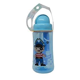 Bình nước nắp gập, ống hút silicone Ami Thái Lan 360ml (AM55401) - Màu xanh