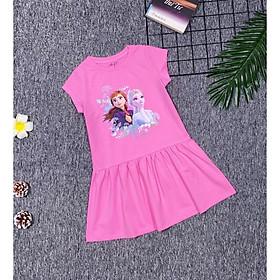 Váy thun cotton ngắn tay in Elsa cho bé gái 1-10 tuổi