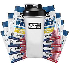 Combo 10 gói dùng thử Sữa tăng cơ vị dâu kem - critical whey - Applied Nutrition & Bình lắc 700 ml