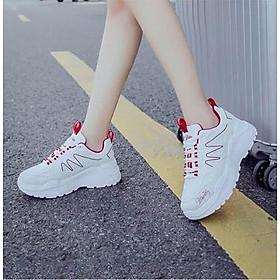 Giày thể thao sneaker nữ viền sóng 2 màu đơn giản