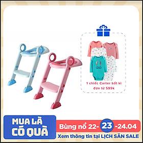 Thang bô vệ sinh có nắp lót thu nhỏ bồn cầu Babyhop cho bé trai và bé gái có tay vịn, gấp dựng cất gọn