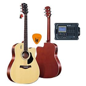 [Gắn EQ] Đàn Guitar Acoustic Rosen G11 Màu Gỗ Dáng D Và EQ Mings AGA MET-B12 (Đàn đã gắn sẵn EQ) - Phân Phối Chính Hãng - Kèm móng   gẩy DreamMaker