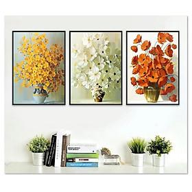 Decal dán tường bộ 3 khung tranh hoa đẹp Tipo_0131