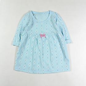 Đầm thun xanh biển in hoa cúc tay dài cho bé gái 1-5 tuổi từ 10 đến 20 kg 04874