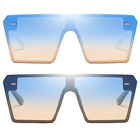 2Pcs Trendy Womens Sunglasses Party Oversized Frames Anti UV Shades Eyewear