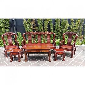 Bộ bàn ghế salon gỗ Tràm Tay 8 Đỉnh rồng