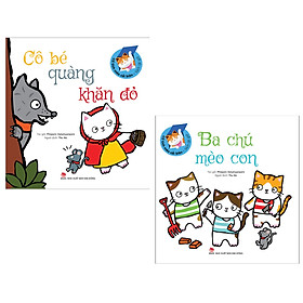 Combo Sách Lật Mở - Cổ Tích Mèo Cải Biên : Cô Bé Quàng Khăn Đỏ + Ba Chú Mèo Con ( Tặng Kèm Postcard Happy Life )