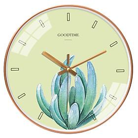 Đồng hồ treo tường tròn Goodtime nền xanh lá sen đá 30cm