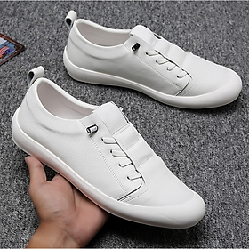 Giày lười da nam trắng da bò cao cấp GN401