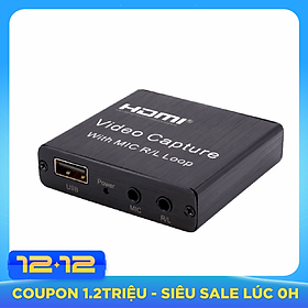 Video Audio Capture Card USB 2.0 HD 1080P 4K Video Converter HD Loop Out Mic Input Audio Out Plug and Play for Game