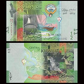 Tiền Kuwait mệnh giá hiếm 1/2 Dinar hình con rùa - mới 100% UNC - tặng kèm bao lì xì