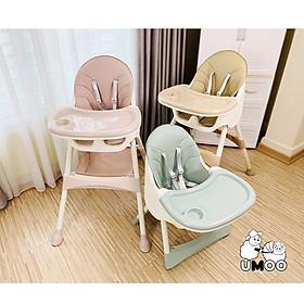 Ghế ăn dặm Umoo thiết kế Hàn Quốc 3 nấc điều chỉnh độ cao, chịu lực 50 kg, đai đa điểm an toàn cho bé