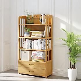 Tủ để sách bằng gỗ tre chống mỗi mọt, giá để sách đa năng 5-6 tầng 80cm TUR061-2