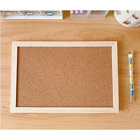 Bảng ghim gỗ bần khung gỗ tặng kèm ghim+dây treo+móc treo+ sticker