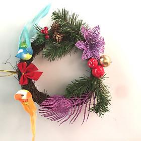 Vòng hoa Noel đẹp rẻ - Vòng nguyệt quế treo cửa trang trí Giáng Sinh đường kính 20cm phụ kiện đẹp lạ
