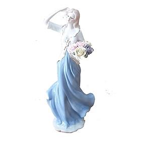 Tượng thiếu nữ châu Âu bằng sứ trang trí sang trọng