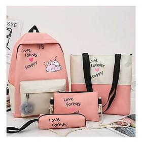 Balo nữ combo 4 món đi học thời trang sinh viên học sinh ba lô set cặp thời trang thỏ hồng