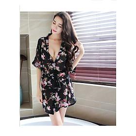 Áo choàng nữ kimono đi biển voan hoa đen nhỏ gợi cảm chất đẹp kèm quần chip lọt khe