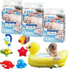 Combo 3 gói tã dán Moony cao cấp size NB90/S84/M64/XL44 tặng đồ chơi tắm Toys House và chậu tắm phao vịt vàng