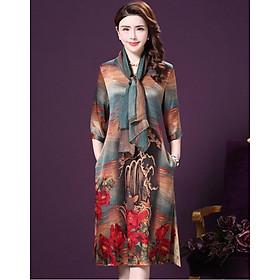 Đầm suông trung niên in họa tiết phối khăn rời