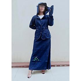 SET ĐỒ CHỐNG NẮNG CAO CẤP - Gồm có Áo khoác chống nắng Jean & Váy chống nắng Jean loại 1 tà có thêu Họa tiết Cỏ 3 Lá nổi bật
