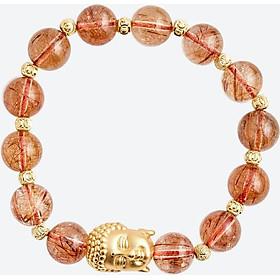 Vòng tay thạch anh tóc đỏ charm phật bạc Ngọc Quý Gemstones