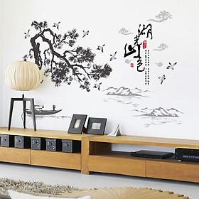 Decal dán tường nghệ thuật khung cảnh sơn thủy SL1929