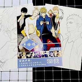 Tranh tô màu 19 days tập bản thảo phác họa anime manga tặng thẻ Vcone