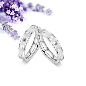 Nhẫn đôi trái tim chữ love đính hạt đá sang trọng