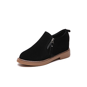 Giày Slip-On Nữ Da Lộn Khóa Kéo Độn Đế Cao 6CM 3Fashion - MSP 2725 - Đen