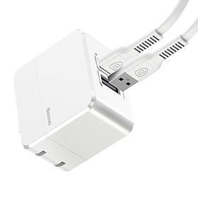 Củ sạc nhanh 2.4A Baseus COCO Series + 2 cáp sạc iPhone (2 x USB, 2.4A, 2 Iphone Cables) - Trắng - Hàng chính hãng