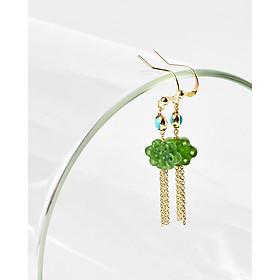 Bông tai ngọc bích dáng dài đồng tâm bạc 925 mạ vàng - Mệnh Mộc & Hoả - Cami.J