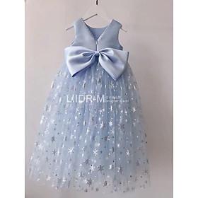 Váy Đầm Công Chúa Hoa Tuyết Xanh Elsa