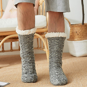 Men Winter Socks Plush Thick Warm Soft Non-Slip Mid-Calf Home Floor Socks Hosiery