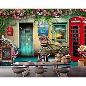 Tranh dán tường 3d trang trí quán cà phê - trang trí quán trà sữa - không bay màu -trặng kèm keo dán TC73
